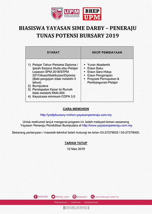 Biasiswa Yayasan Sime Darby Peneraju Tunas Potensi Bursary 2019 Bahagian Hal Ehwal Pelajar